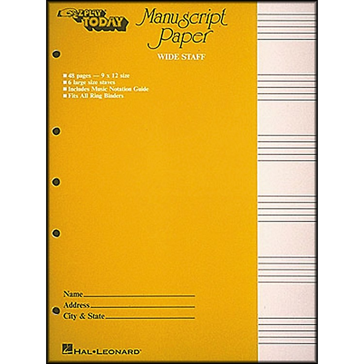 Hal LeonardManuscript Paper (Wide Staff) 'E-Z Play Today'