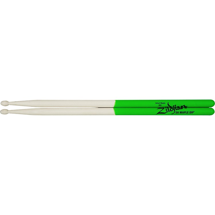 Zildjian Maple Green DIP Drumsticks 5A Wood Tip