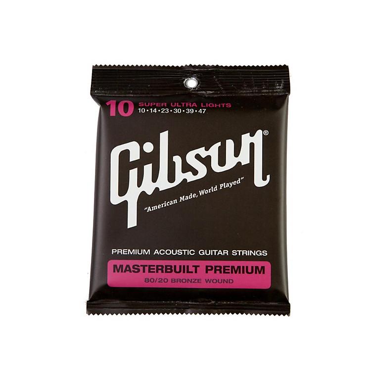 GibsonMasterbuilt Premium 80/20 Bronze Super Ultra Light Acoustic Guitar Strings