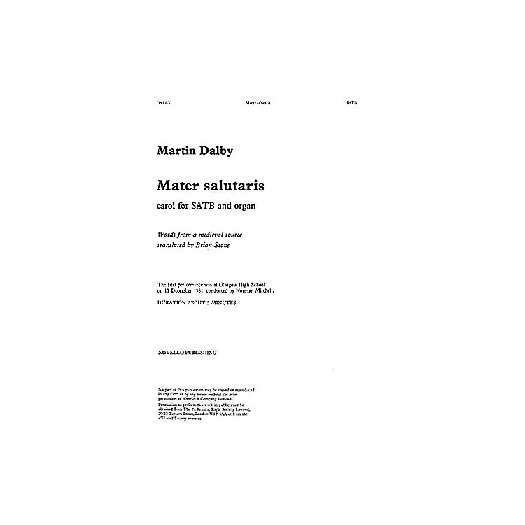 NovelloMater Salutaris SATB Composed by Martin Dalby
