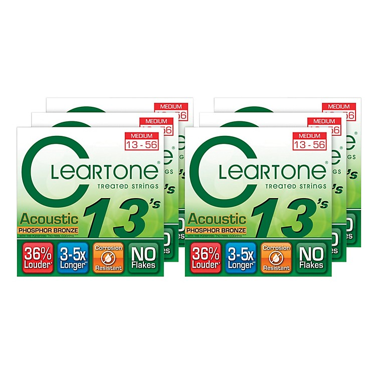 Cleartone Medium Acoustic Guitar Strings 6 Pack