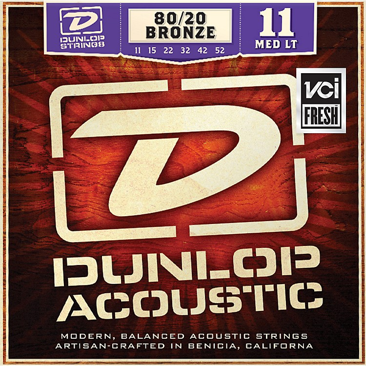 DunlopMedium Light 80/20 Bronze Acoustic Guitar Strings