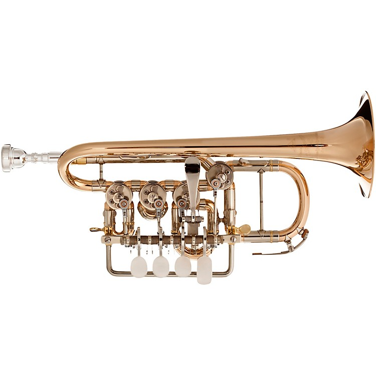 Scherzer Meister Johannes Rotary Valve Piccolo Trumpet Lacquer Gold Brass Bell
