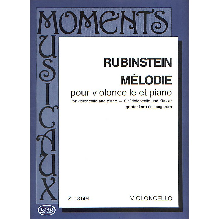Editio Musica BudapestMelodie, Op. 3 No. 1 (Cello and Piano) EMB Series Composed by Anton Rubinstein