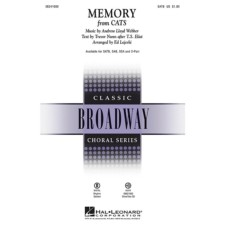 Hal LeonardMemory (from Cats) ShowTrax CD Composed by Andrew Lloyd Webber