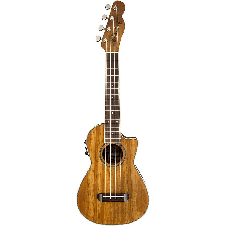 Fender Mino'Aka Koa Cutaway Concert Acoustic-Electric Ukulele Natural