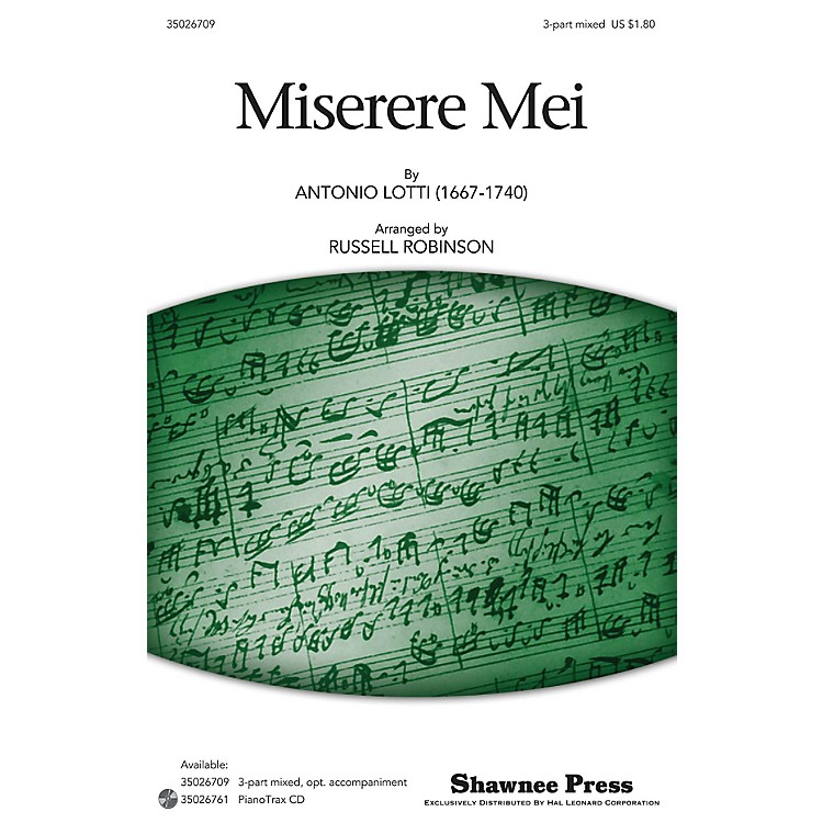 Shawnee Press Miserere Mei 3-Part Mixed opt. a cappella arranged by Russell Robinson