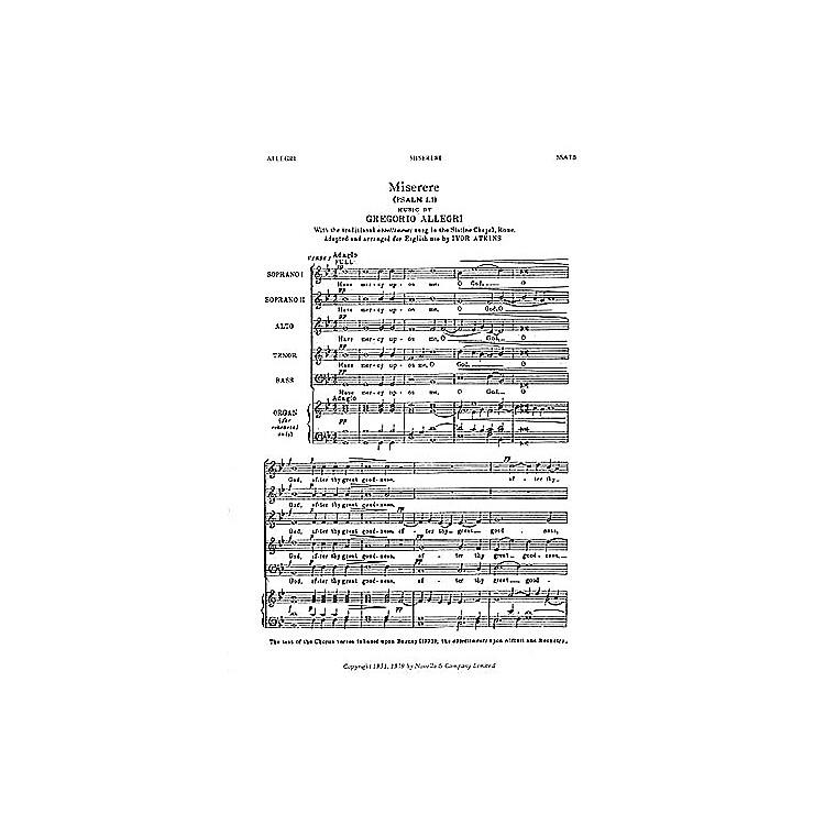 NovelloMiserere (Psalm LI) SSATB Composed by Gregorio Allegri Arranged by Ivor Atkins