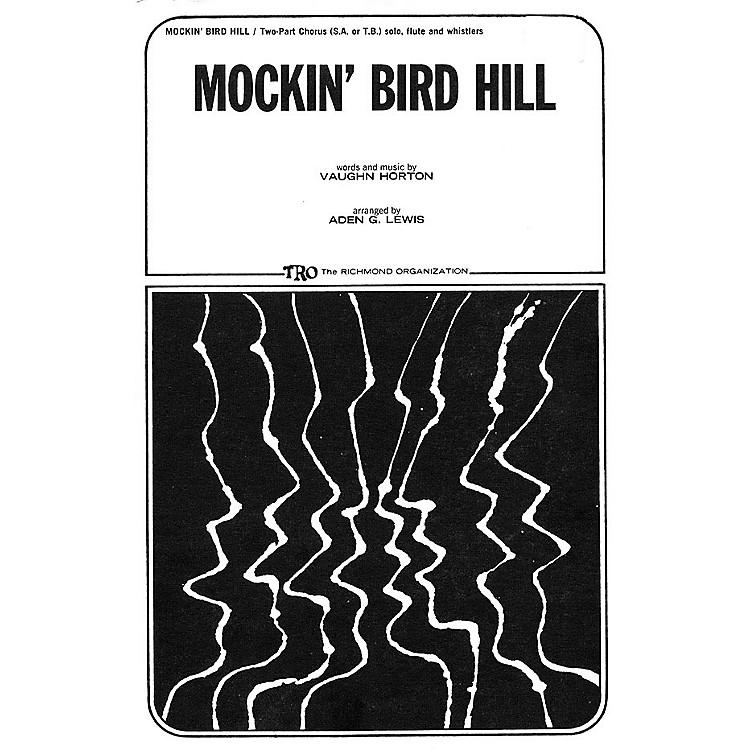 TRO ESSEX Music GroupMockin' Bird Hill 2-Part Arranged by Aden G. Lewis