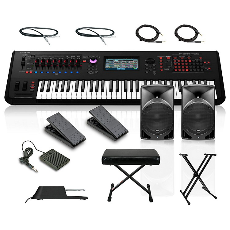 Yamaha Montage 6 61-Key Synthesizer with Powered Speakers Stand Pedals Deluxe Keyboard Bench and Cables