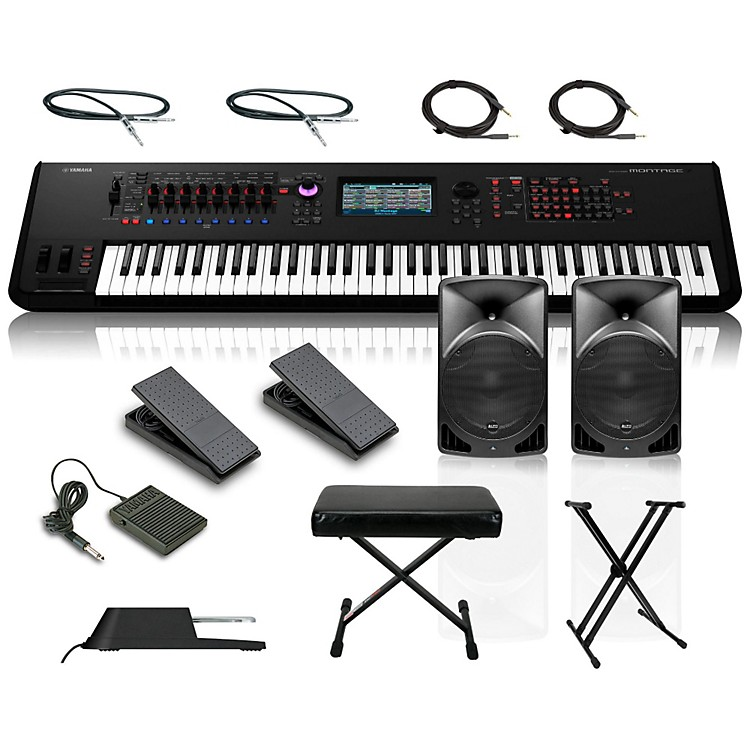 YamahaMontage 7 76-Key Synthesizer with Powered Speakers Stand Pedals Deluxe Keyboard Bench and Cables