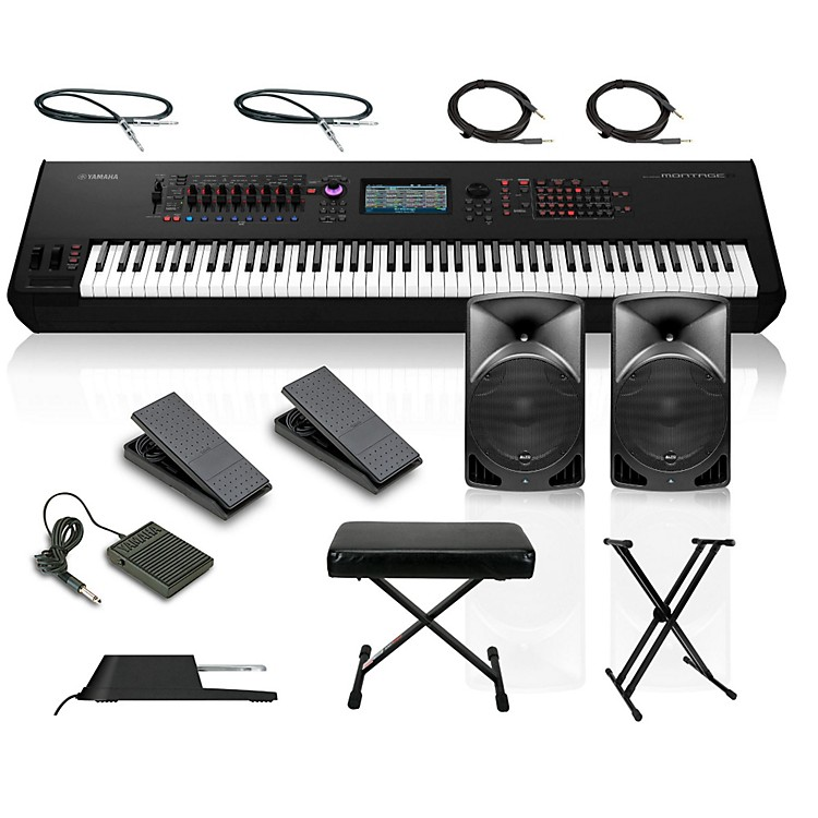 YamahaMontage 8 88-Key Synthesizer with Powered Speakers Stand Pedals Deluxe Keyboard Bench and Cables