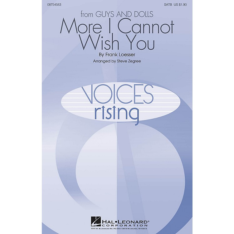 Hal LeonardMore I Cannot Wish You SATB arranged by Steve Zegree