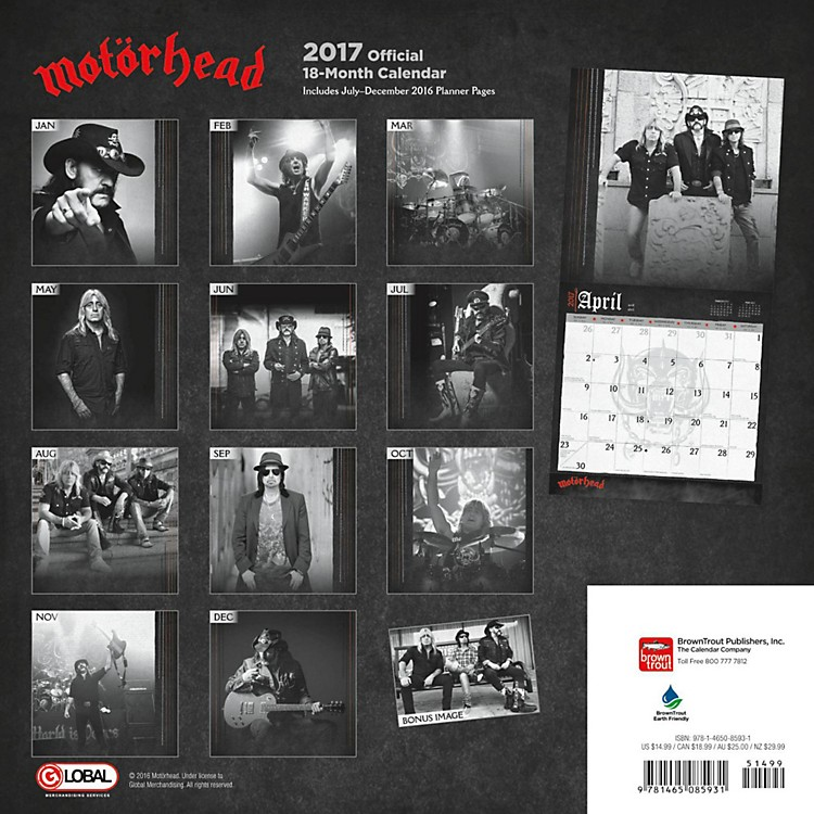 Browntrout PublishingMotorhead 17 Global Calendar