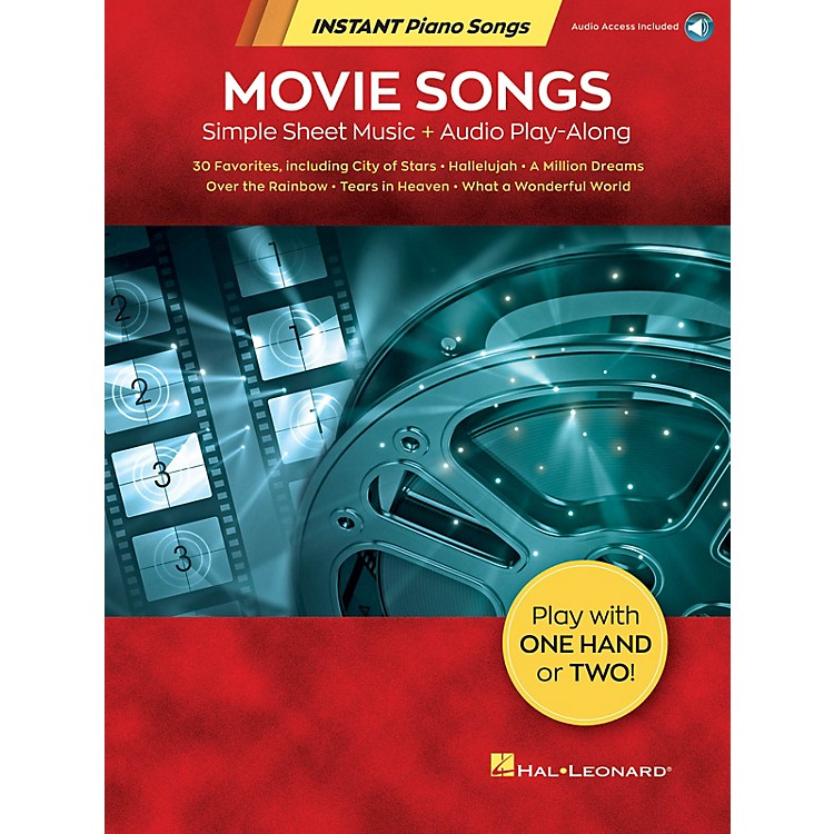 Hal Leonard Movie Songs – Instant Piano Songs - Simple Sheet Music + Audio Play-Along Book/Audio Online