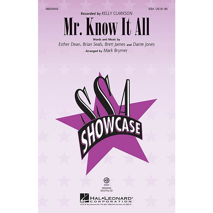 Hal LeonardMr. Know It All ShowTrax CD by Kelly Clarkson Arranged by Mark Brymer