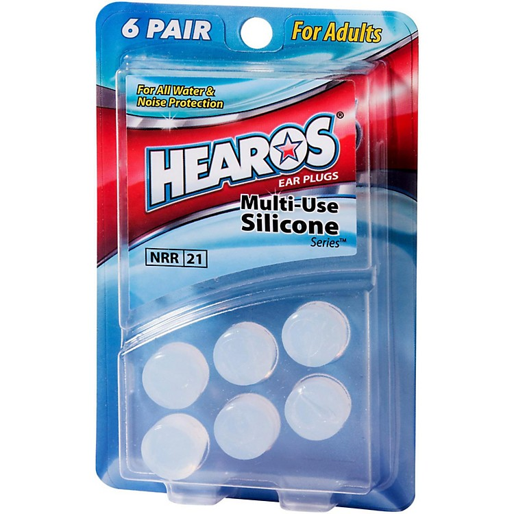 HearosMulti-Use Silicone Series Ear Plugs 6 Pair Adult Size