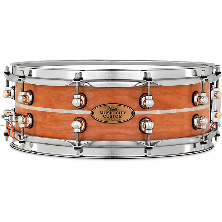Pearl Music City Custom Solid Shell Snare Cherry with Nicotine Marine Inlay 14 x 5 in.