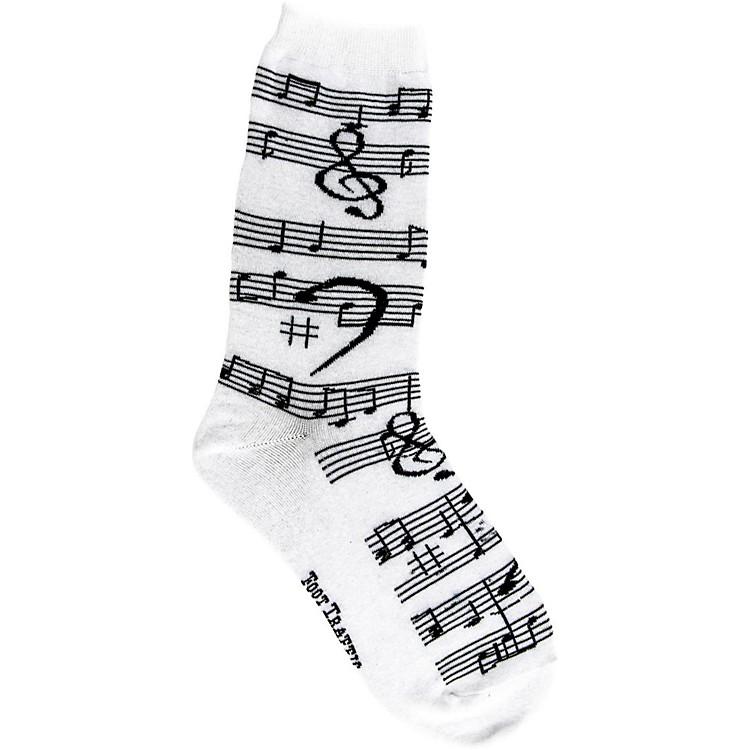 Foot TrafficMusic Notes Women's Socks White