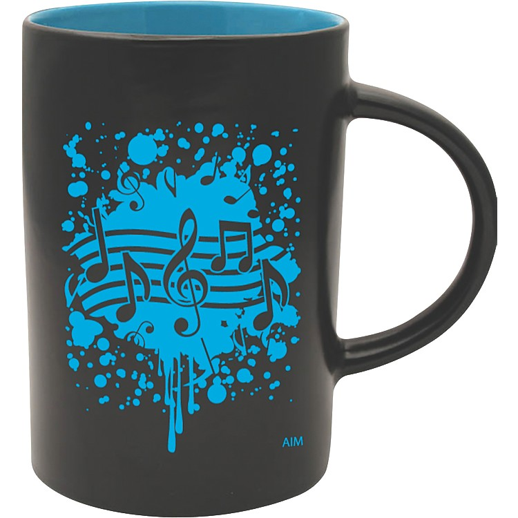 AIM Musical Note Burst Black/Blue Caf Mug