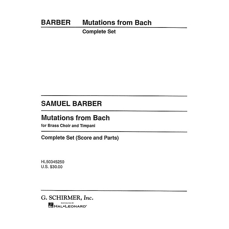 G. SchirmerMutations from Bach (Score and Parts) Concert Band Composed by Samuel Barber