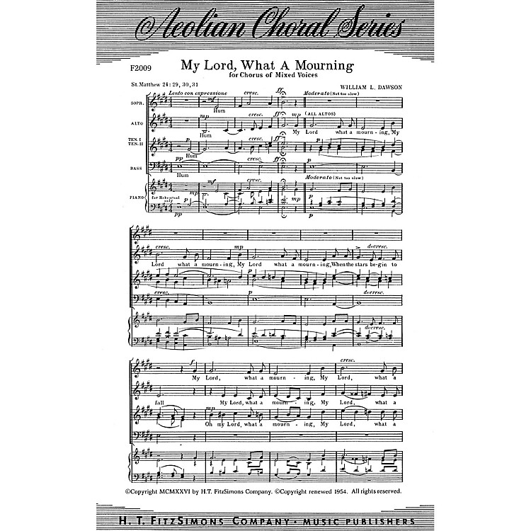 Fred Bock MusicMy Lord, What a Mourning SATB arranged by William L. Dawson