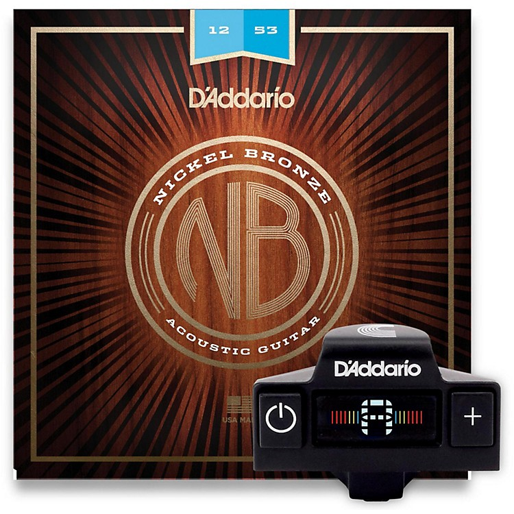 D'AddarioNB1253 Nickel Bronze Light 3-Pack Acoustic Strings and NS Micro Soundhole Tuner w/ Color Screen