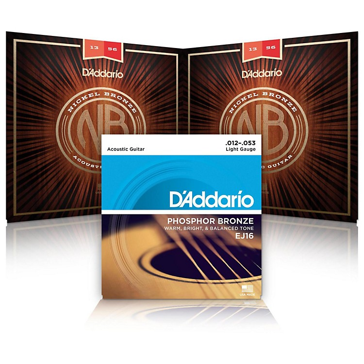 D'AddarioNB1253 Nickel Bronze Light Acoustic Strings 2-Pack with EJ16 Phosphor Bronze Light Single-Pack