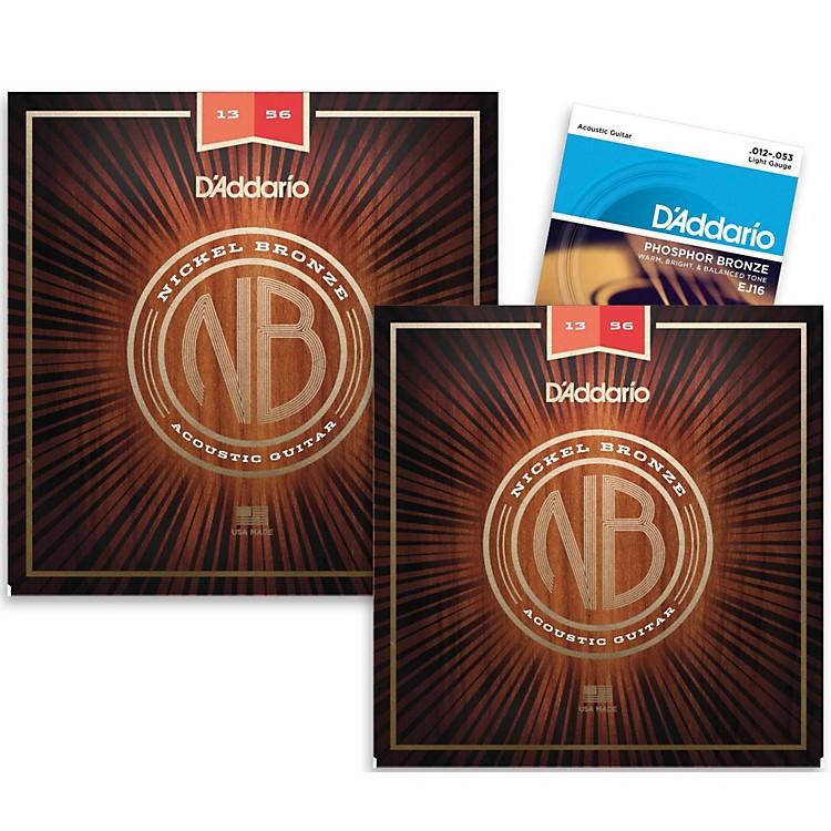 D'AddarioNB1356 Nickel Bronze Medium Acoustic Strings 2-Pack with EJ16 Phosphor Bronze Light Single-Pack
