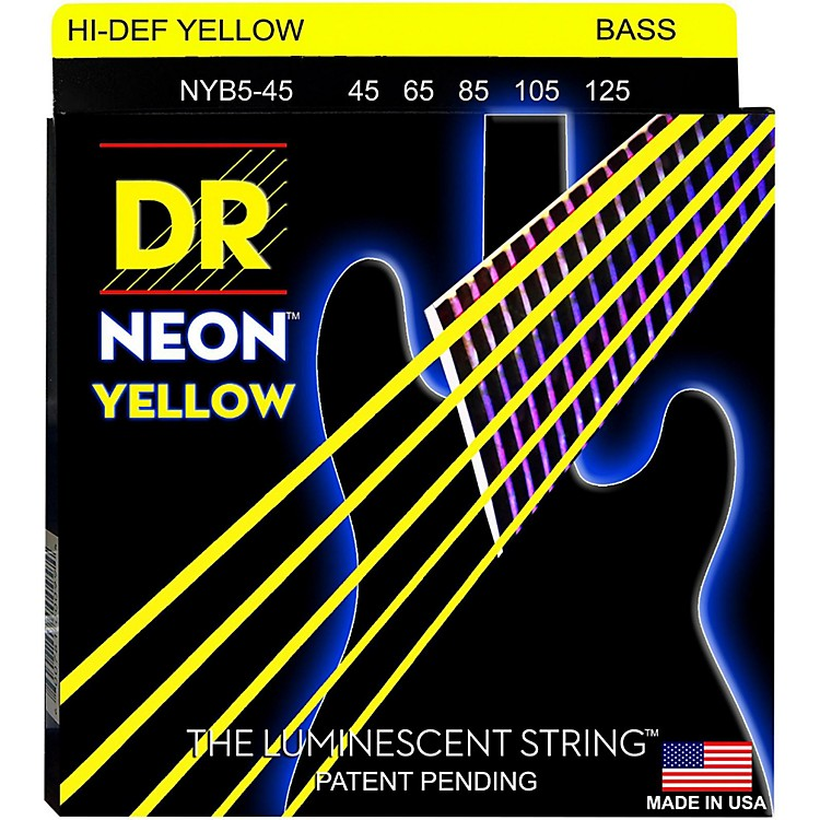 DR StringsNEON Hi-Def Yellow Bass SuperStrings Medium 5-String