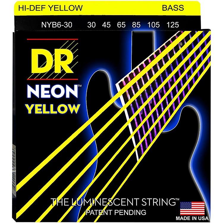 DR StringsNEON Hi-Def Yellow Bass SuperStrings Medium 6-String