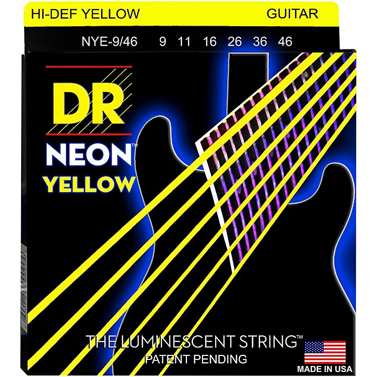 DR Strings NEON Hi-Def Yellow SuperStrings Light Top Heavy Bottom Electric Guitar Strings