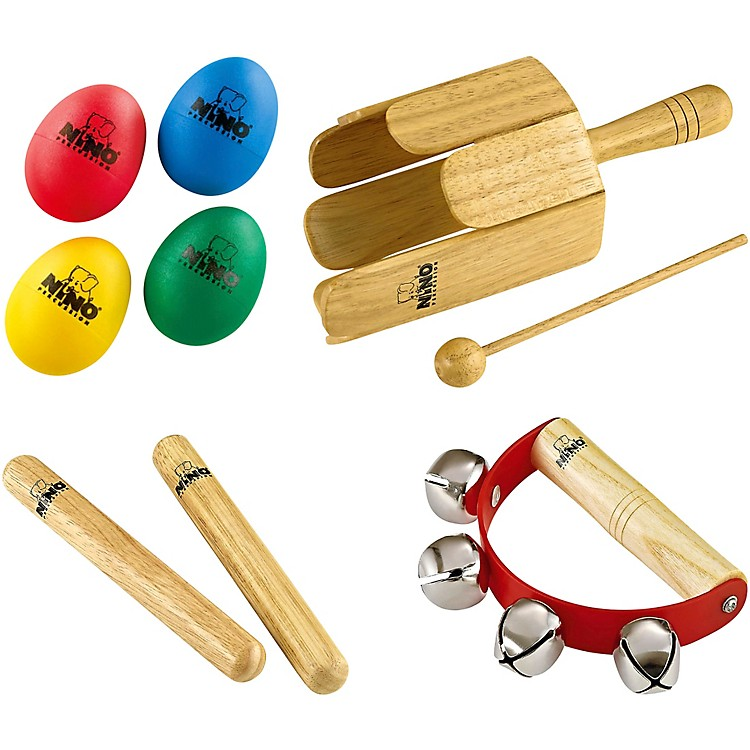 NinoNP-3 Percussion Pack with 4-Piece Egg Shaker Set, Wood Stirring Drum, Claves and Free Sleigh Bells