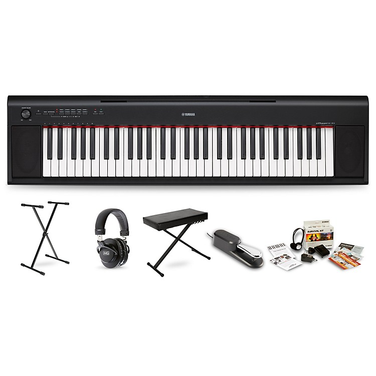 Yamaha NP12 (White) with Headphones, Bench, Stand and Sustain Pedal Black