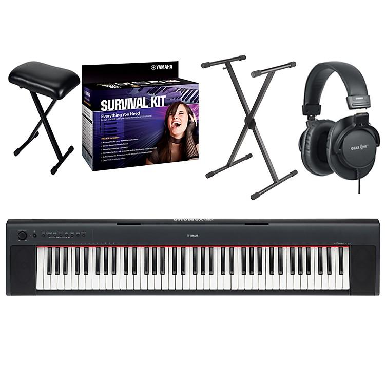 YamahaNP31 76-Key Portable Digital Piano with Yamaha D2 Survival Kit, Bench, Stand, & Headphones