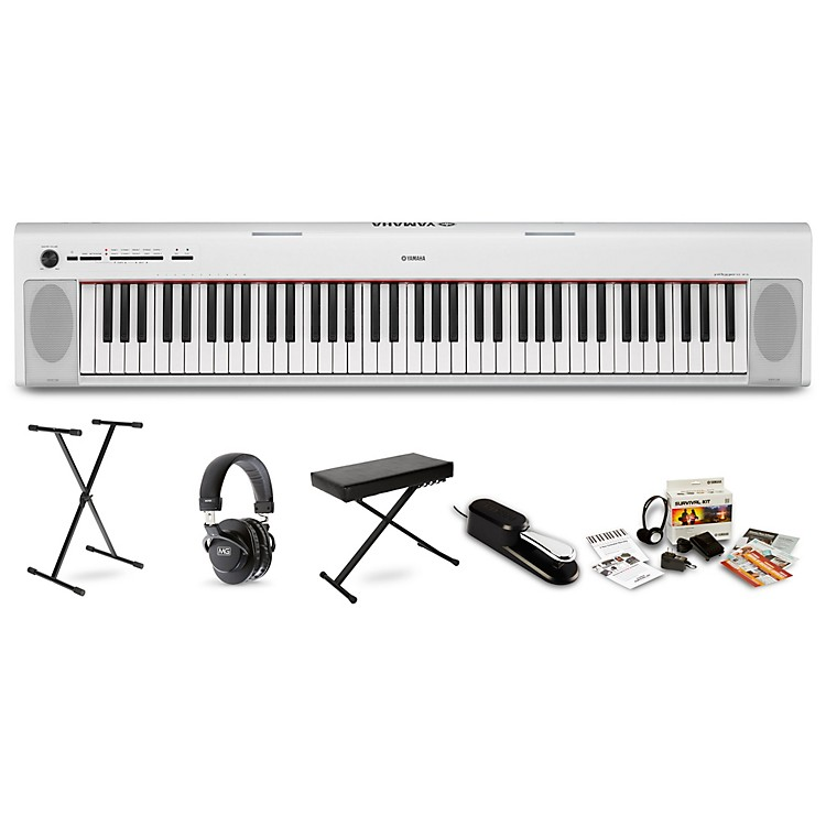 YamahaNP32 Portable Keyboard with Headphones, Bench, Stand and Sustain PedalWhite