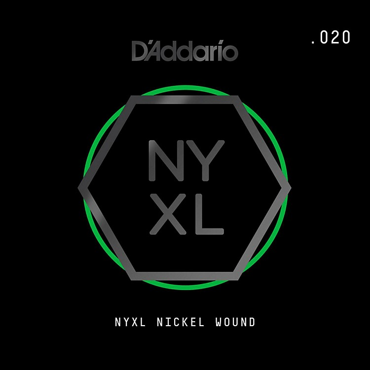 D'Addario NYNW020 NYXL Nickel Wound Electric Guitar Single String, .020