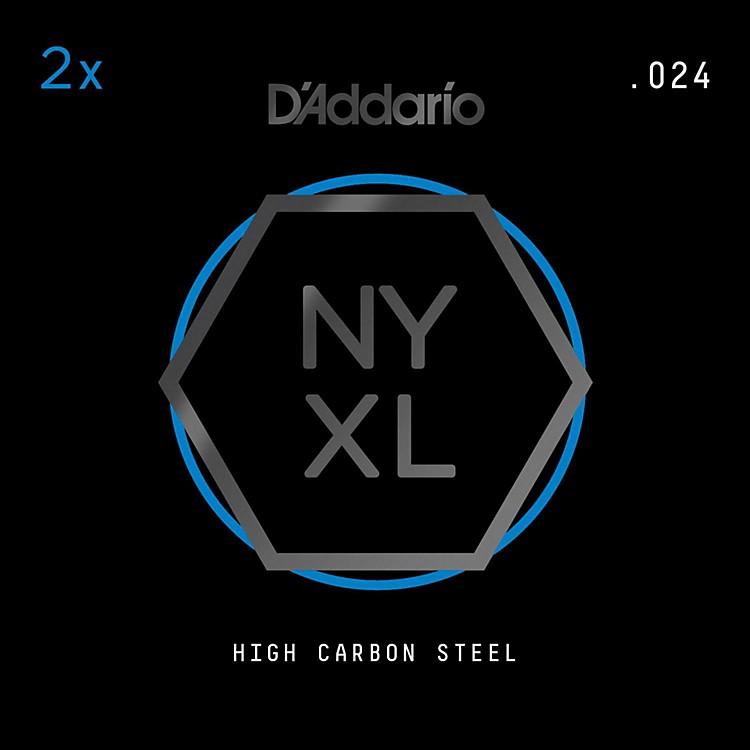 D'AddarioNYPL024 Plain Steel Guitar Strings 2-Pack, .024