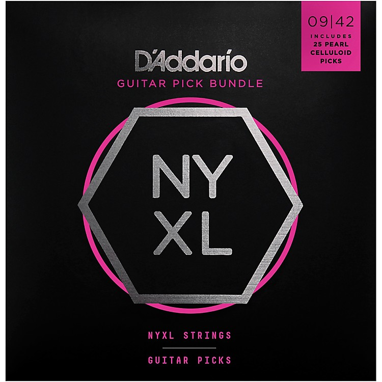 D'Addario NYXL Electric Guitar Strings with 25 Celluloid Picks .009-.042 Light