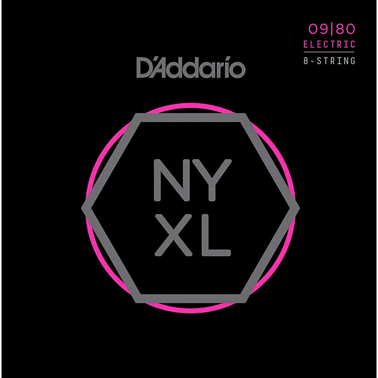 D'Addario NYXL0980 8-String Super Light Nickel Wound Electric Guitar Strings (09-80)