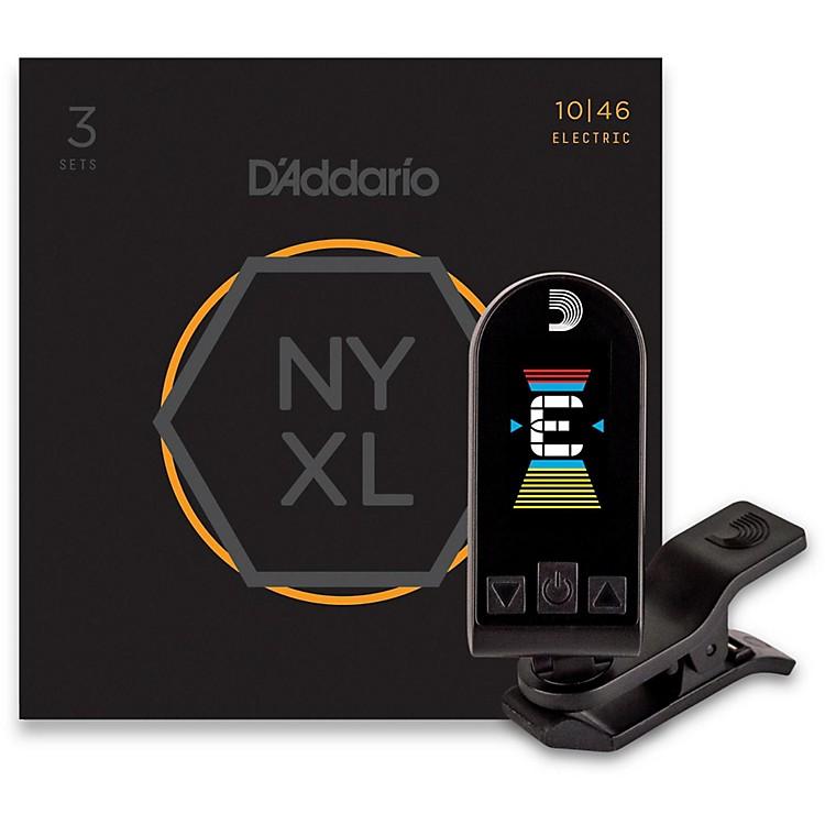 D'AddarioNYXL1046 Light 3-Pack Electric Guitar Strings and Equinox Headstock Tuner