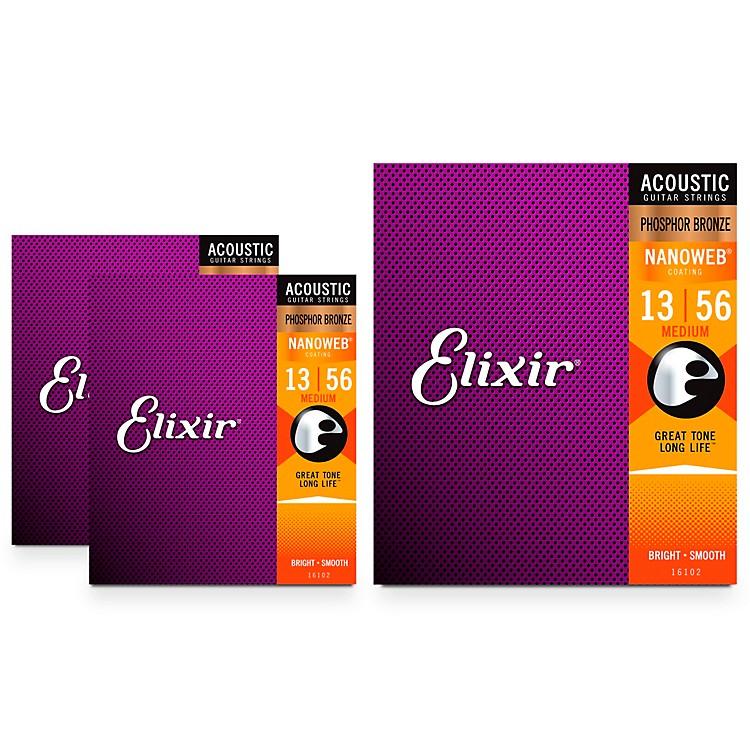 ElixirNanoweb Medium Phosphor Bronze Acoustic Guitar Strings 3 Pack