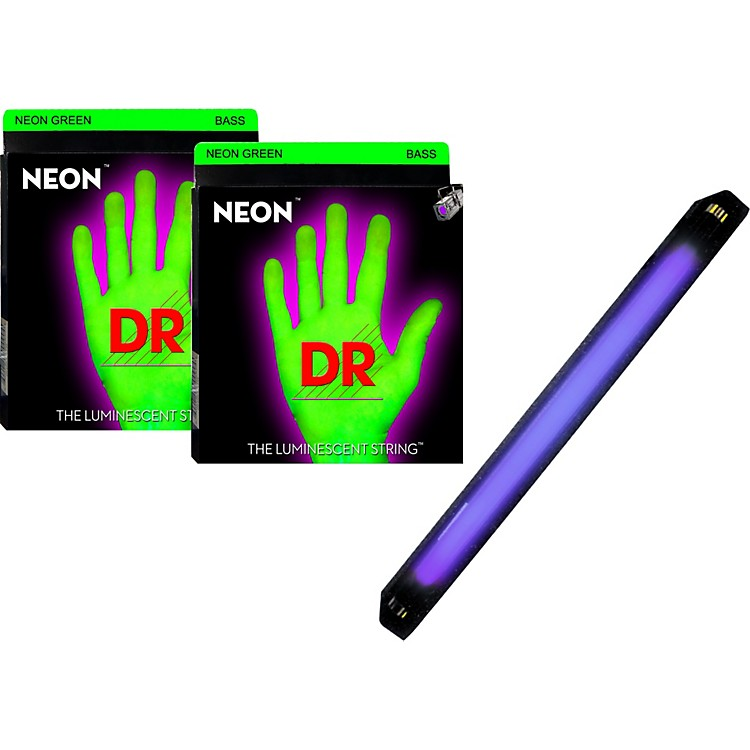DR Strings Neon Phosphorescent Green Medium 4 String Bass Strings with Free American DJ Super Black Light