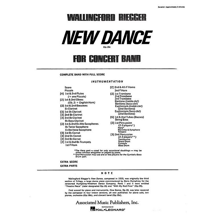 AssociatedNew Dance for Band, Op. 18b (finale) (Full Score) Concert Band Composed by Wallingford Riegger