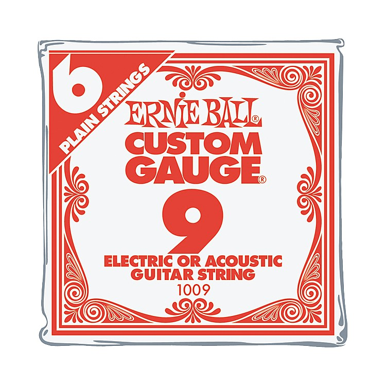 Ernie BallNickel Plain Single Guitar String.009 Gauge6-Pack