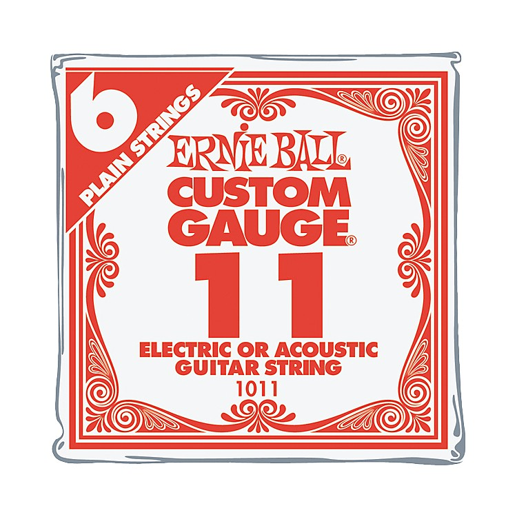 Ernie Ball Nickel Plain Single Guitar String .011 Gauge 6-Pack