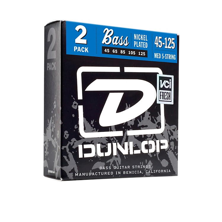 DunlopNickel Plated Steel Bass Strings - Medium 5-String 2 Pack