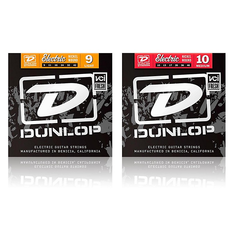 DunlopNickel Plated Steel Electric Guitar Strings Medium/Light 2-Pack