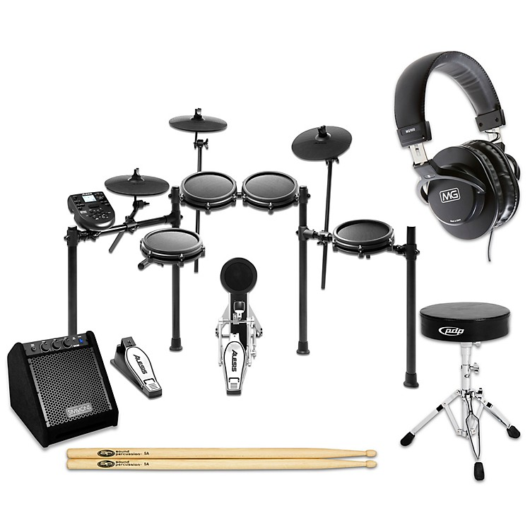 Alesis Nitro Mesh Electronic Drum Set Complete Bundle with Simmons DA25 Monitor