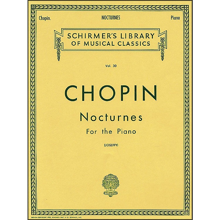 G. Schirmer Nocturnes for Piano Vol 30 By Chopin